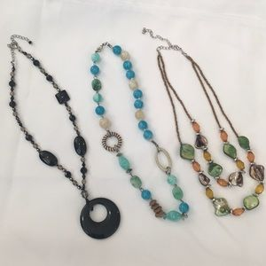 Jewelry - Group of 3 Necklaces Abalone Glass & Beads